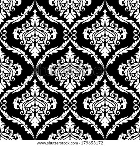 Ornate damask arabesque design with floral motifs in a seamless black and white pattern in square format, suitable for fabric and wallpaper - stock vector