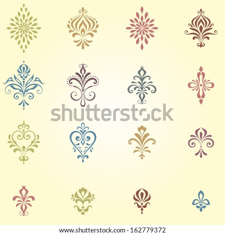 Ornate damask elements. Perfect for vintage seamless backgrounds. - stock vector