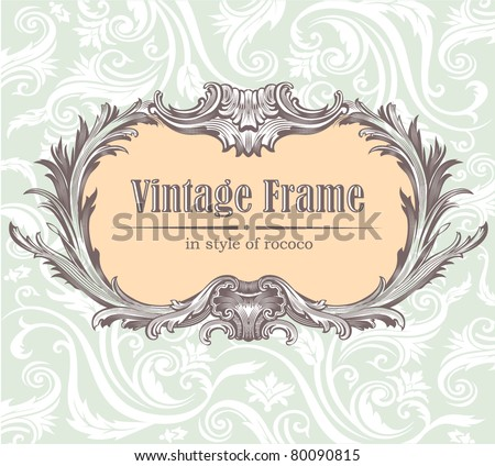 Ornate engraved vintage decorative vector frame.  Edited, all parts separately - stock vector