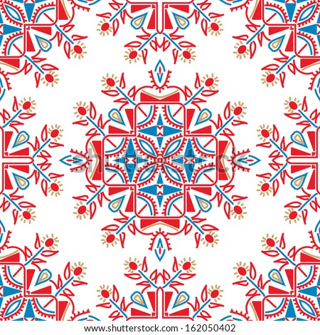 Ornate floral ethnic seamless pattern. endless texture in red, white and blue colors, vector illustration  - stock vector