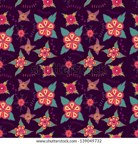 Ornate floral seamless texture, endless pattern with flowers.