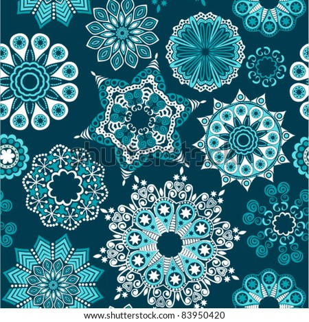 ornate floral seamless texture, endless pattern with flowers looks like retro snowflakes or snowfall. Seamless pattern can be used for wallpaper, pattern fills, web page background, surface textures. - stock vector
