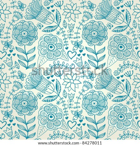 Ornate floral seamless texture, endless pattern with flowers. Seamless pattern can be used for wallpaper, pattern fills, web page background, surface textures, eps10 - stock vector