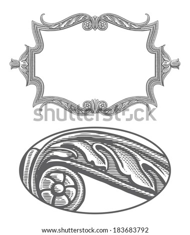 Ornate frame in vintage engraving style - stock vector