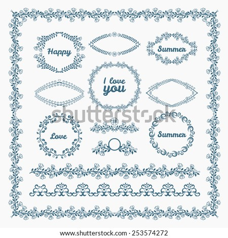 Ornate frames and borders page elements. Florid and floral, romantic. Vector illustration - stock vector