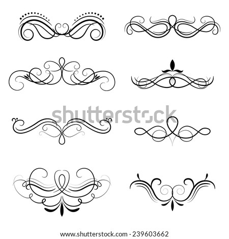 Ornate frames and scroll strokes. Vector design elements.  - stock vector