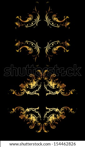 Ornate Gold Curves On Black - stock vector