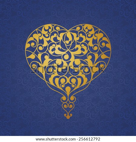 Ornate golden vector heart on blue background. Elegant outline element for logo design in Eastern style. Lace floral illustration for wedding invitations, greeting cards, Valentines cards. - stock vector