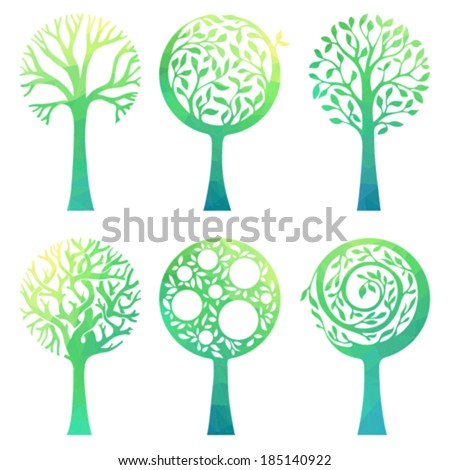 Ornate green trees. Six various trees with geometric texture isolated on white background. - stock vector