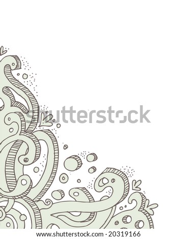 Ornate hand-drawn corner doodle in a graffiti style. Easily editable vectors.