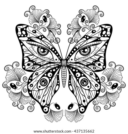 Ornate hand drawn element with a butterfly in boho style. Design for print, label, poster, emblem, logo, textile, fabric, cloth, paper.  Spirituality, astrology, shamanism, occultism, alchemy.