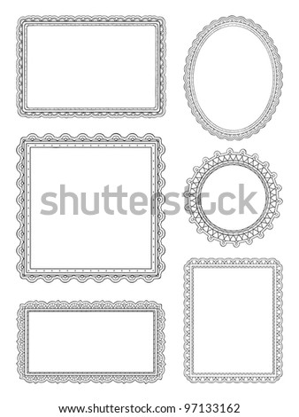Ornate hand drawn frames - stock vector