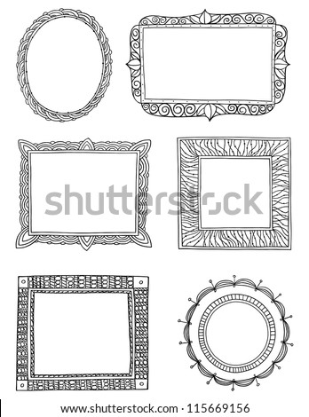 Ornate hand drawn frames three - stock vector