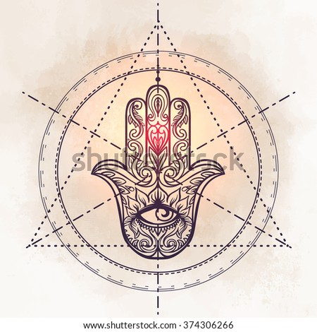 Ornate hand drawn hamsa. Popular Arabic and Jewish amulet. Vector illustration. Sacred geometry. - stock vector