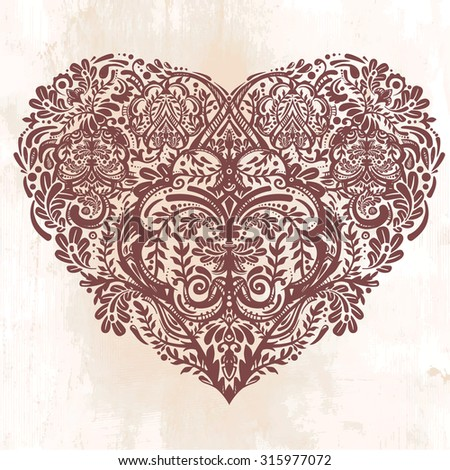 Ornate hand drawn paisley lace heart. Isolated vector illustration. Baroque print  for wedding invitations, greeting cards, Valentine's day print, tattoos, Mothers day, logo, X- mas and  textiles.    - stock vector