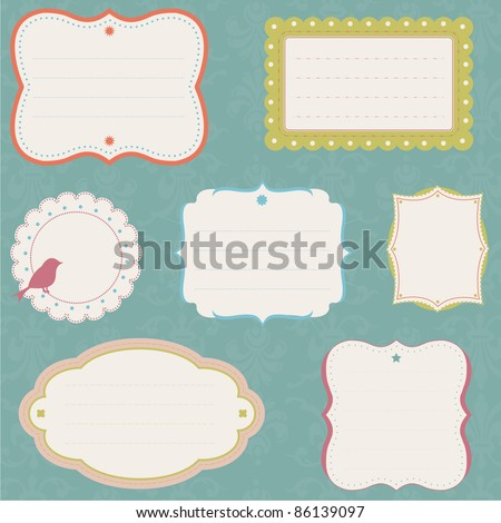 Ornate Label Collection, fully editable vector illustration. - stock vector