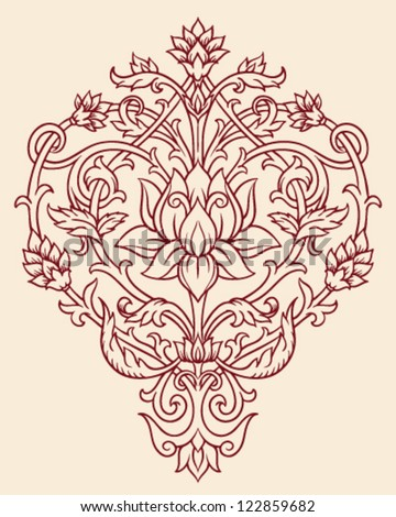 Ornate Lotus Flower Vector