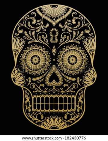 Ornate One Color Day of the Dead Sugar Skull Vector - stock vector