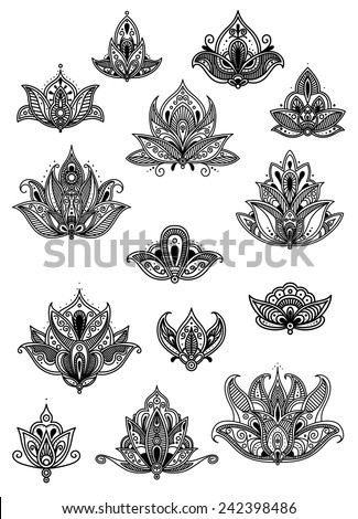 Ornate paisley vintage black and white flower motifs with delicate calligraphic designs and intricate Persian patterns - stock vector