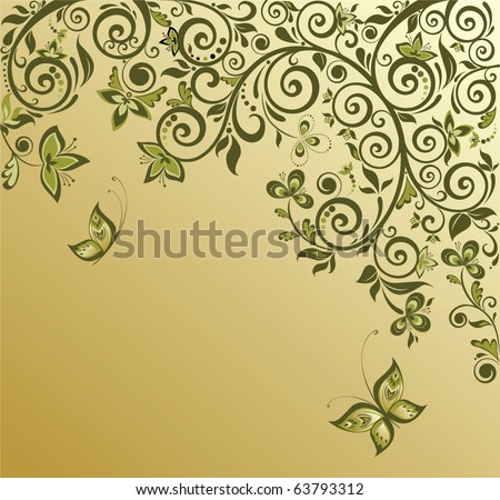 Ornate retro card - stock vector