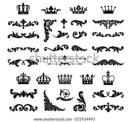 Ornate Scroll Decorative Design Elements Crowns Stock Vector 531934495 Shutterstock