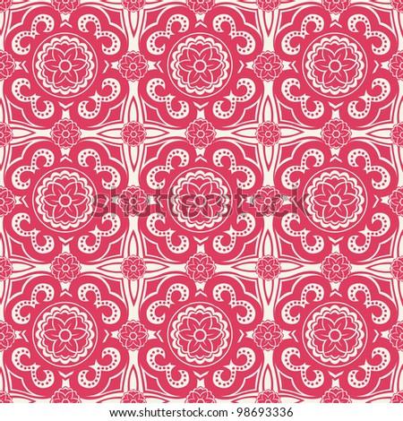 ornate seamless pattern, decorative vector wallpaper - stock vector