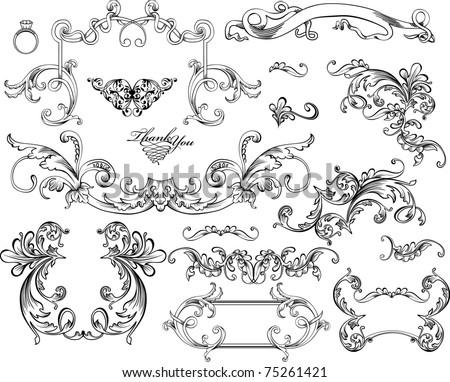 Ornate set vintage elements - stock vector