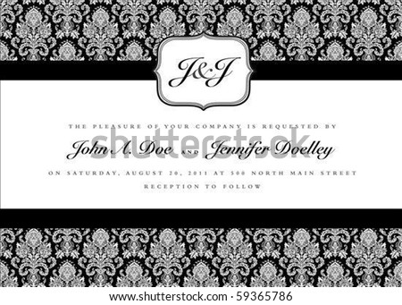 Ornate small frame with sample text. Perfect as invitation or announcement. Background pattern is included as seamless swatch. All pieces are separate. Easy to change colors and edit. - stock vector