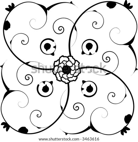 Ornate square tile vector background with fancy victorian swirls and flower center.