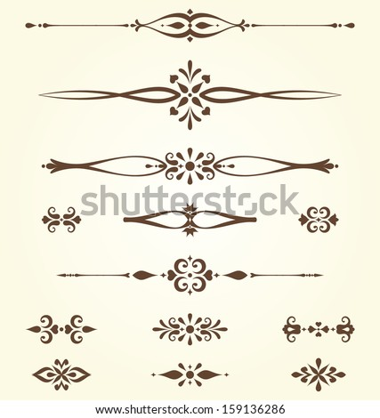 Ornate swirl dividers and arabesques. Elements can be ungrouped for editing.  - stock vector