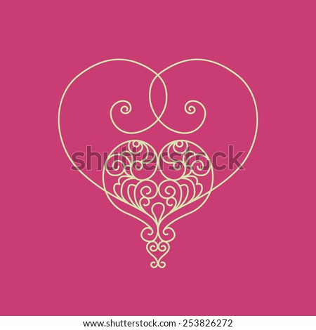 Ornate vector heart in line art style. Elegant element for logo design, place for text. Lace floral illustration for wedding invitations, greeting cards, Valentines cards. Light outline pattern. - stock vector