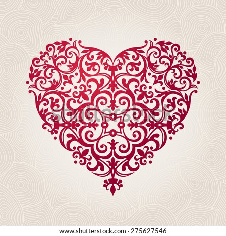 Ornate vector heart in Victorian style. Elegant element for logo design. Lace floral illustration for wedding invitations, greeting cards, Valentines cards. Vintage pink decor in shape of heart. - stock vector
