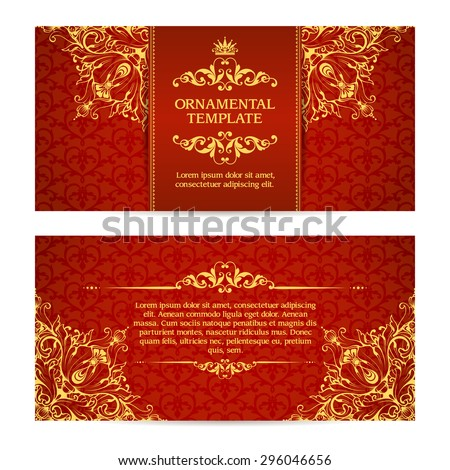 Ornate vector set banners in Eastern style Template with ornamental gold frame and patterned background. Elegant wedding invitation design, Greeting Card, banners - stock vector