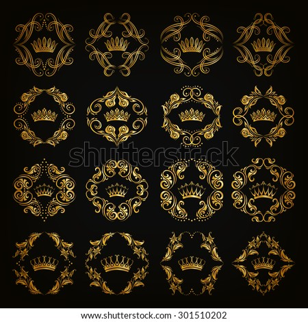 Ornate vector set. Decorative victorian golden crowns and heraldic floral elements on black background. In vintage style. Illustration EPS 10. - stock vector