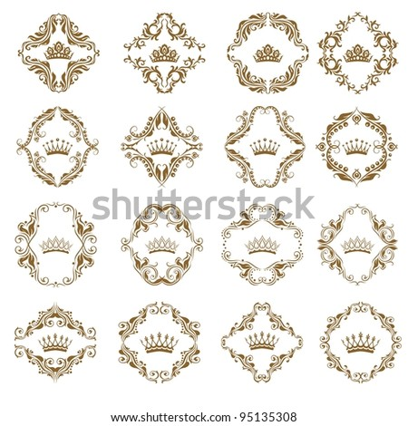 Ornate vector set. Victorian crown and decorative elements.  In vintage style. - stock vector