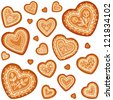 Ornate vector traditional gingerbread hearts set - stock vector