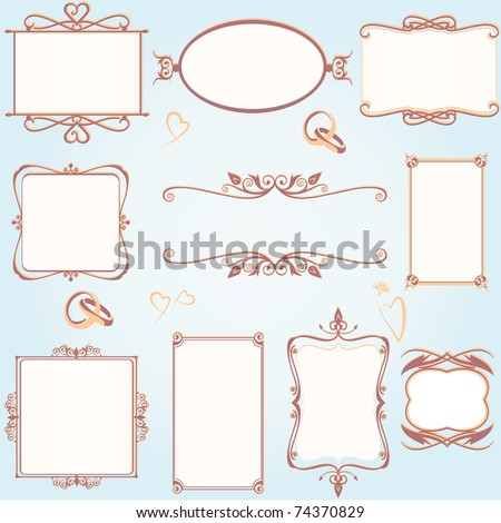 Ornate vintage frame set with wedding rings - stock vector