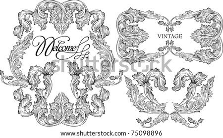 Ornate vintage frame with clipping path - stock vector