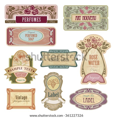 Ornate vintage labels in style Art Nouveau.  - stock vector