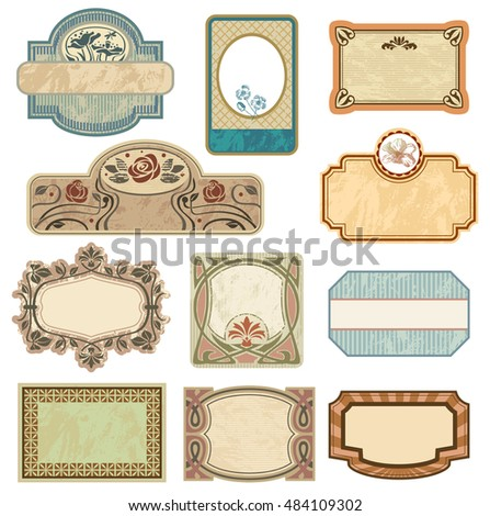 Ornate vintage labels in style Art Nouveau. All elements separately.