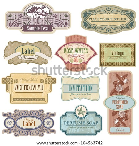 Ornate vintage labels in style Nouveau art. All elements separately. - stock vector