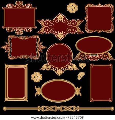 Ornate vintage Victorian frame set  vector - stock vector
