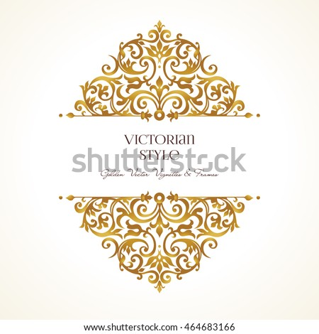 Vector Set Golden Vignettes Borders Design Stock Vector