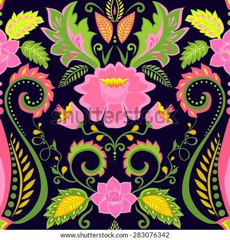 Ornate wallpaper with exotic flowers - stock vector