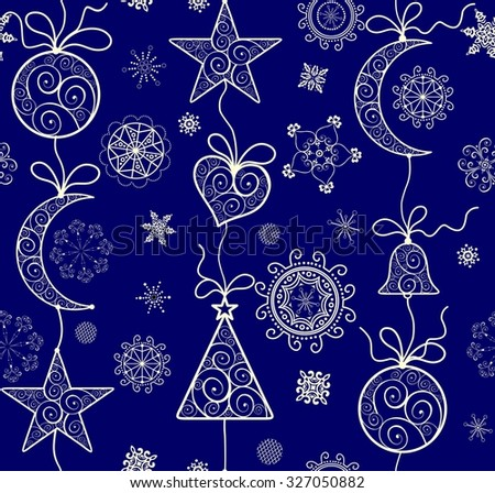 Ornate Xmas wallpaper with golden lacy pattern - stock vector