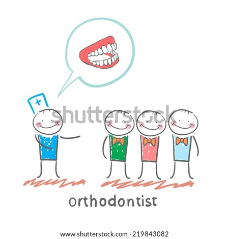 orthodontist says with patients about their teeth - stock vector