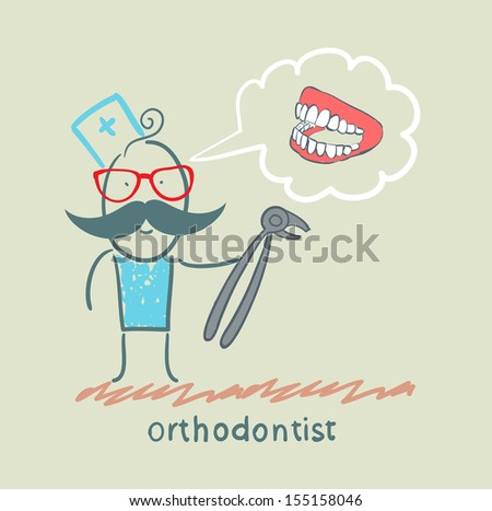 orthodontist with a tool for thinking about pulling out a tooth jaw - stock vector