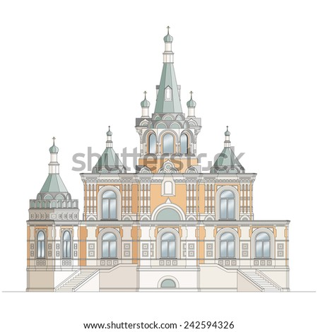 Orthodox church on white background, highly detailed, colored, isolated.  - stock vector