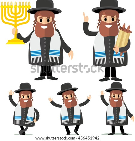orthodox jew,hassid,rabbi,with Payot  - stock vector