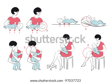 Orthopedic rules for the care of the newborn - stock vector